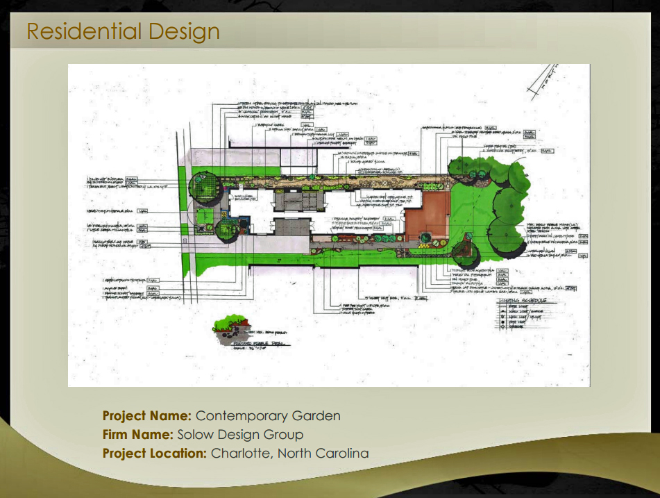 In 2014, Solow Design Group was recognized through the NCASLA by winning the Award of Merit in residential design for our contemporary garden project in Charlotte, NC.