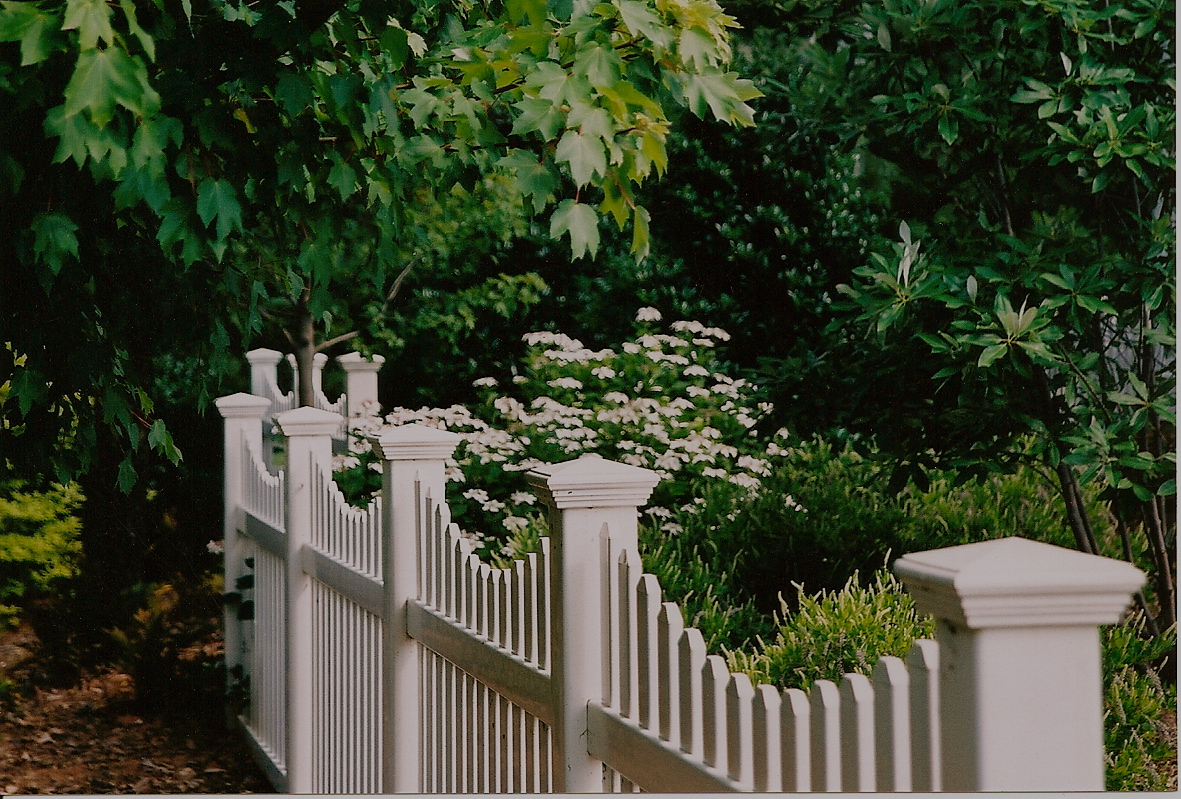 A modern interpretation of the traditional picket fence reflects the style of the home while spearating the front yard gardens from the street.