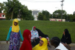 Somali friends enjoying themselves in a Park near downtown Minneapolis