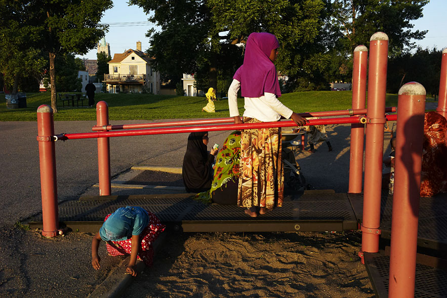Somali community enjoying themselves at a local park near downtown Minneapolis.