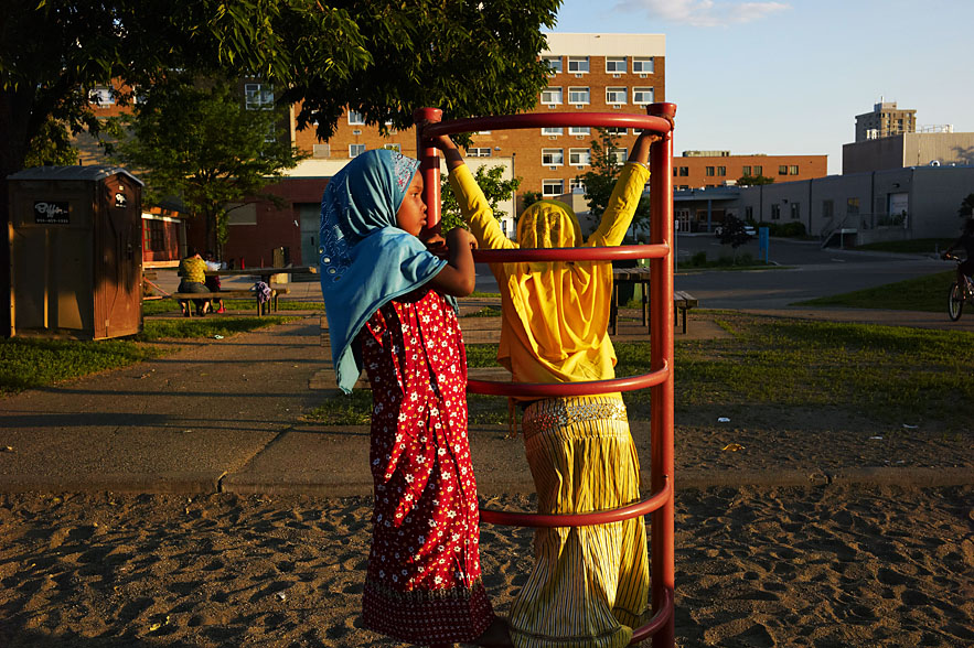 Children, orginally from Somalia, playing at a park near downtown Minneapolis.