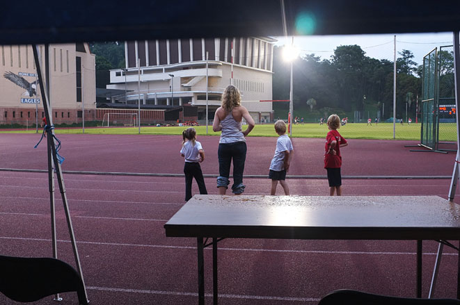 Singapore American School, Mother and children watch the game, 2012