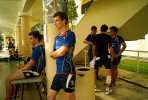 At St Andrew School, French team players rest between games, 2012