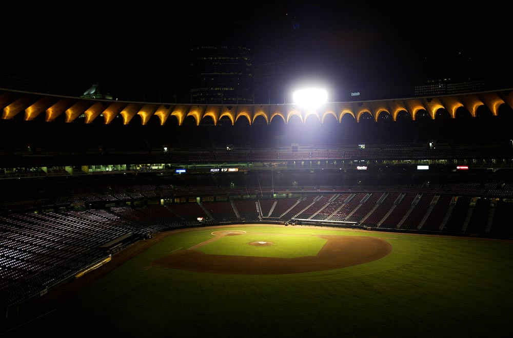 A lone light illuminates the infield of an empty Busch Stadium following a Cardinals game with the Florida Marlins. After 38 years of service, Busch Stadium is being torn down.