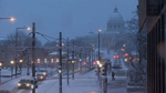 Multiple cameras were used to document a snow storm in downtown St. Paul, Minn.