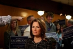 Republican presidential candidate Michele Bachmann pauses before a live television interview at the Northside Cafe in Winterset, Iowa. After a 99-county tour of her homestate, Bachmann dropped out of the GOP presidential race after a last-place finish in the Iowa Caucuses.