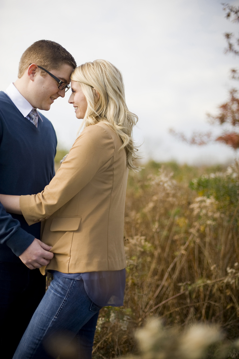 Fall portrait of couple in Liberty State Park. Jersey City wedding photographers