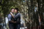 portrait of gay men engagement photos at Governor's Island. Gay-friendly NYC wedding photographers