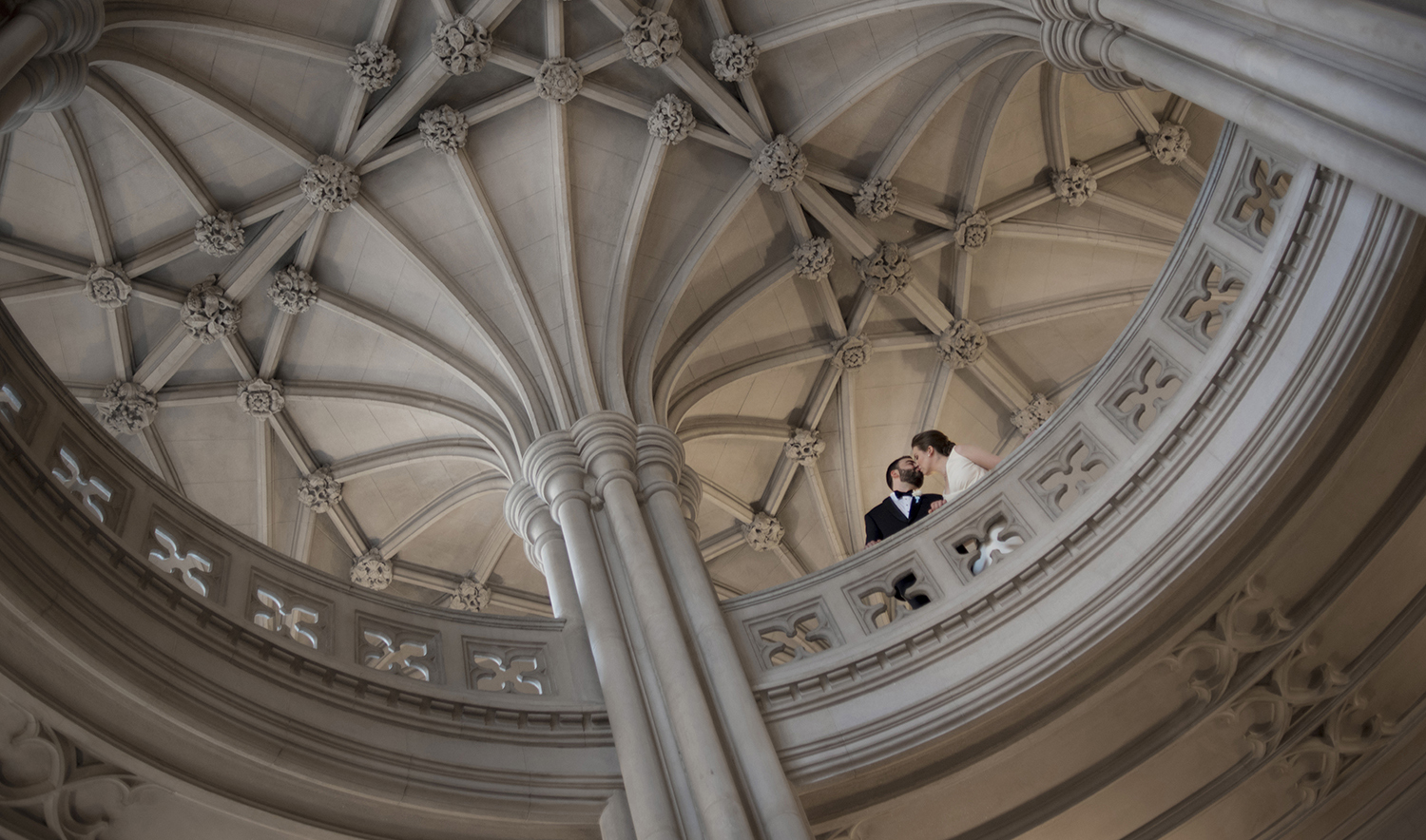 Union Theological Seminary wedding photos. bride and groom on their wedding day. NYC wedding photos