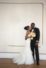 Portrait of bride and groom on wedding day at Akwaaba Bed and Breakfast. NYC wedding photos