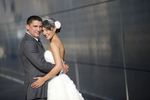 Portrait of bride and groom at Liberty State Park before their wedding at Liberty House. Hoboken wedding photographers, NJ wedding photographers
