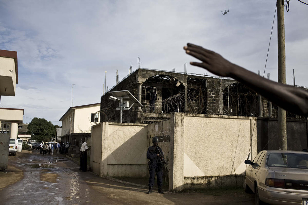The Armed Forces of Liberia kept watch as United Nations helicopters circled before the announcement of election results. Many feared Liberia would descend back into violence and war. October, 2011.