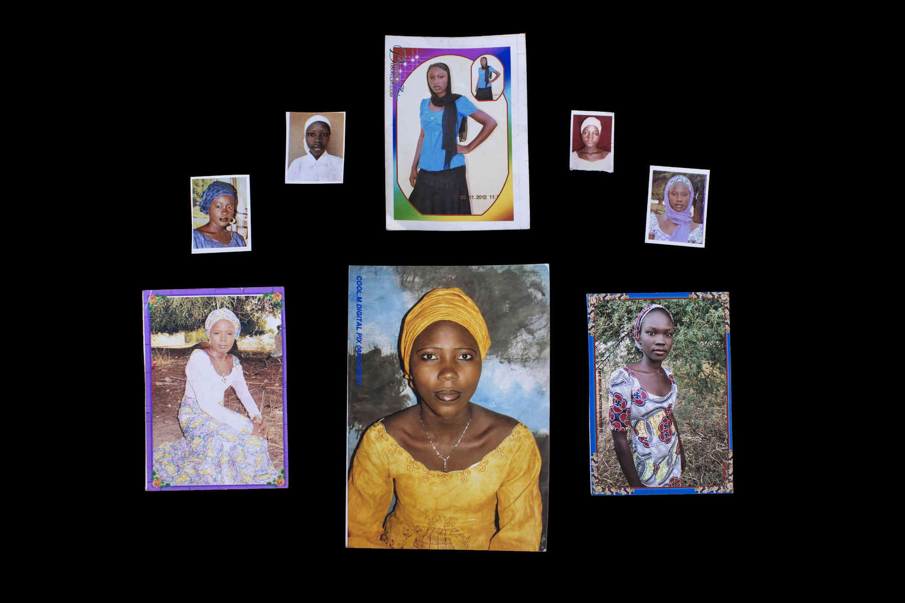 Kidnapped Chibok Girls. Photos courtesy of their families. Top row left to right: Yana Pogu, Rhoda Peters, Saratu Ayuba, Comfort, Bullus, Dorcas Yakubu. Bottom row left to right: Hauwa Mutah, Hajara Isa, Rivkatu Ngalang.