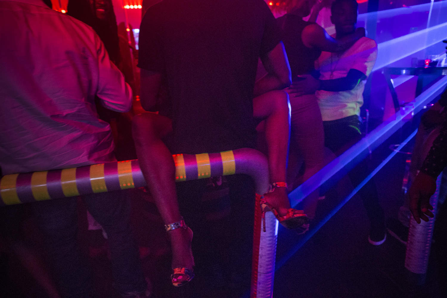 People dance the night away at Quilox, a popular upscale club in Lagos, Nigeria.