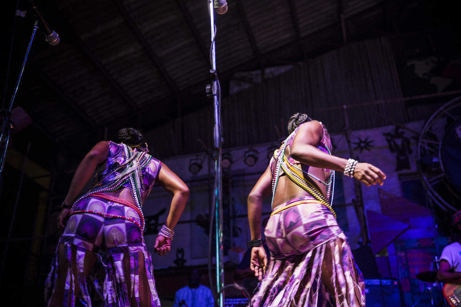 Dancers onstage at the Shrine, Fela Kuti's old diggs reimagined in a new building.