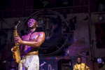 Seun Kuti, one of Fela's youngest sons, performs on a Saturday night. Though he is less popular than his elder brother Femi, many say his music is closer to Fela's original beats.