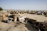 There aren't enough formal camps or shelters so many people gather thatch and build small huts. They will live in these structures until there are more permanent tents built. Nearly three million people have been displaced by the conflict with Boko Haram.