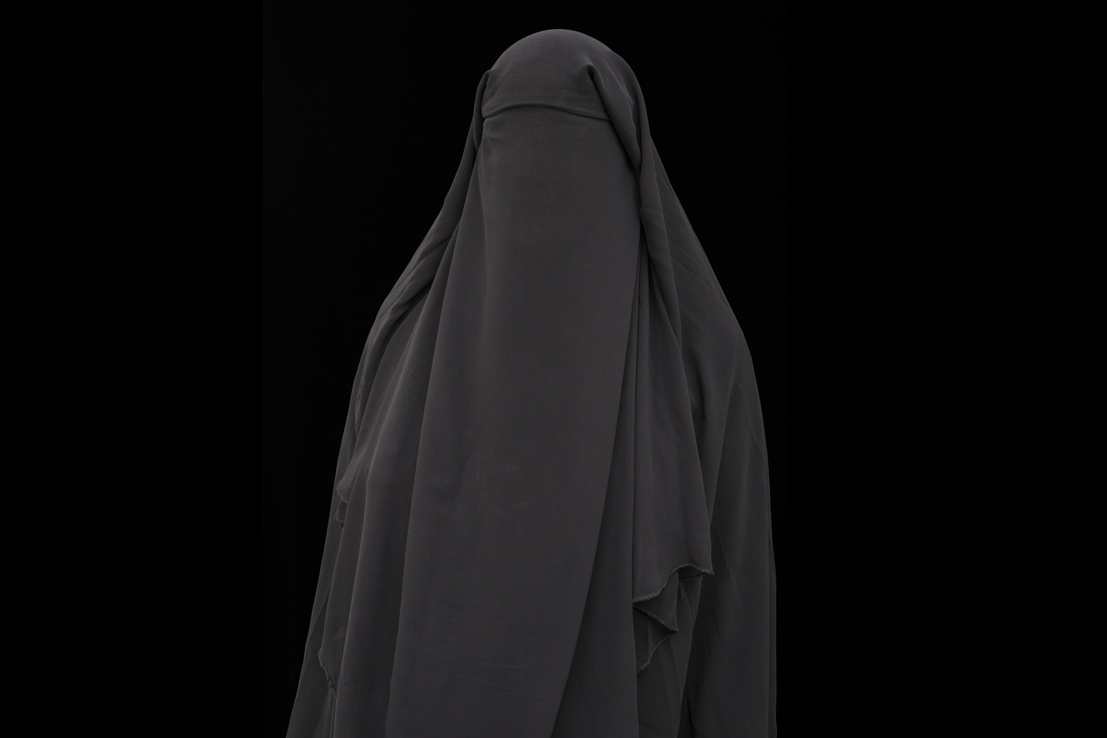 The burqa that Leila Kaleva wore during her nearly five months of captivity in Yemen by Al Qaeda.
