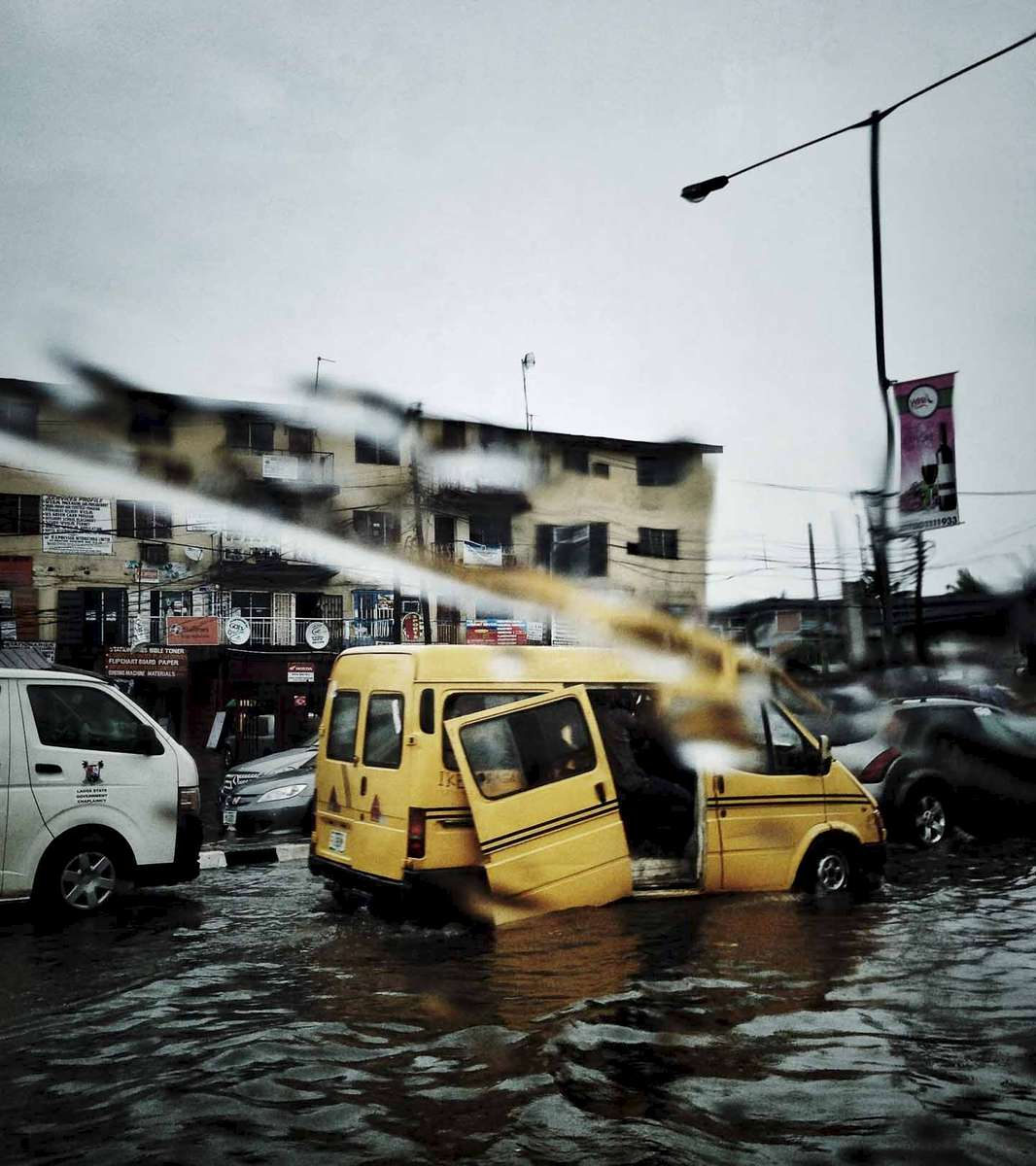When it rains, it floods. Traffic in Lagos, Nigeria. October 2014.
