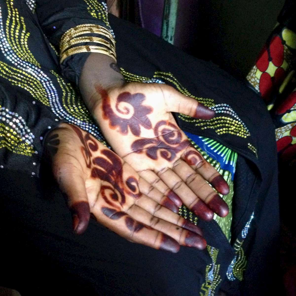 Henna\'ed hands before a wedding. Northern Nigeria. November 2014.