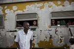 Passengers buy drinks and other goods at the Jebba station in central Nigeria.