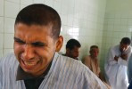 An agitated mental patient cries at Rashad psychiatric hospital recieve psychiatric Friday.