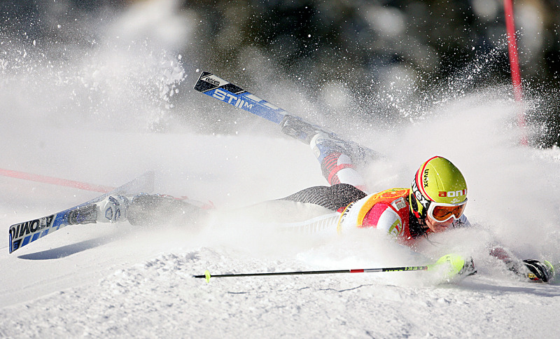 Marlies Schild, of Austria, crashes on the first run of the Slalom competition in the Women's Ski World Cup 2005 Aspen Winternational at Aspen Mountain.