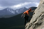 Jim Davidson climbs near Longs Peak outside of Estes Park, Colorado.