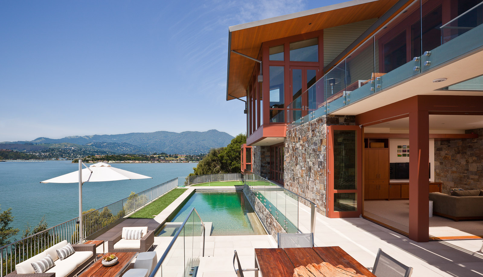 Belvedere home with a view across Richardson Bay to the Sausalito and Mt. Tamalpais. Residence designed by Sutton Suzuki Architects. Photo by Jay Graham