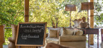 Early moring welcome sign in the dining area of Toka Leya Safari Camp. Photo © 2012 Jay Graham, all rights reserved