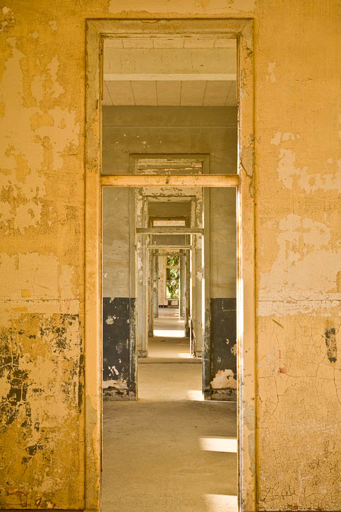 An image taken in the hospital on Angel Island looking through five doors on the first floor. Photo by Jay Graham