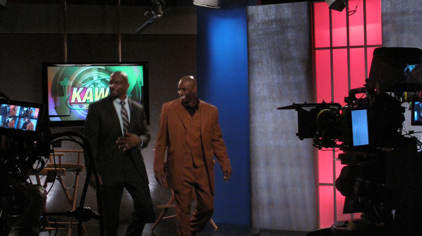 TV Studio with Deion Saunders and Terry Crews.