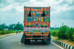 The roads and highways are used primarily by trucks moving freight. They out number cars 10 to 1.  This is a typical view on the roads of India.