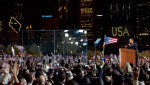 At last President-elect Barack Obama takes the stage at Grant Park, and sets the tone for the next four years.
