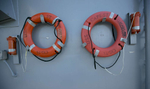 Flotation devices aboard guided missile cruiser USS Cape St. George.