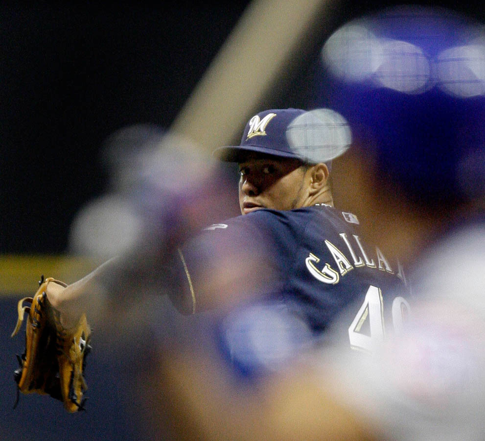 Yovani Gallardo starts Tuesday night's game as the Brewers take on the Chicago Cubs.