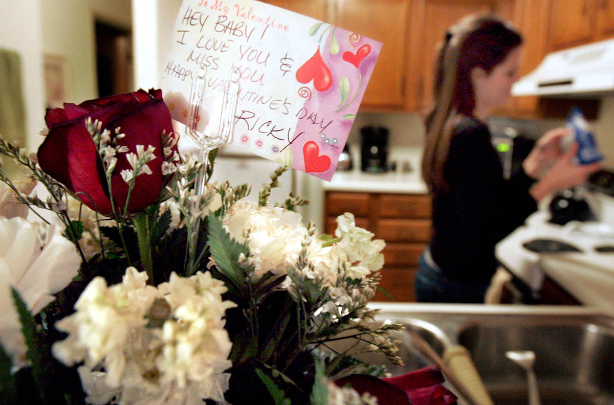 Ricky and Kristen were high school sweethearts and married just after they graduated from high school. Ricky might be a macho-man with his friends, but he turns to mush around his wife. He planned ahead for  Valentine's Day, sending a hand written card to the florist to include with the flowers. He knows these small things help Kristen cope with his absence.