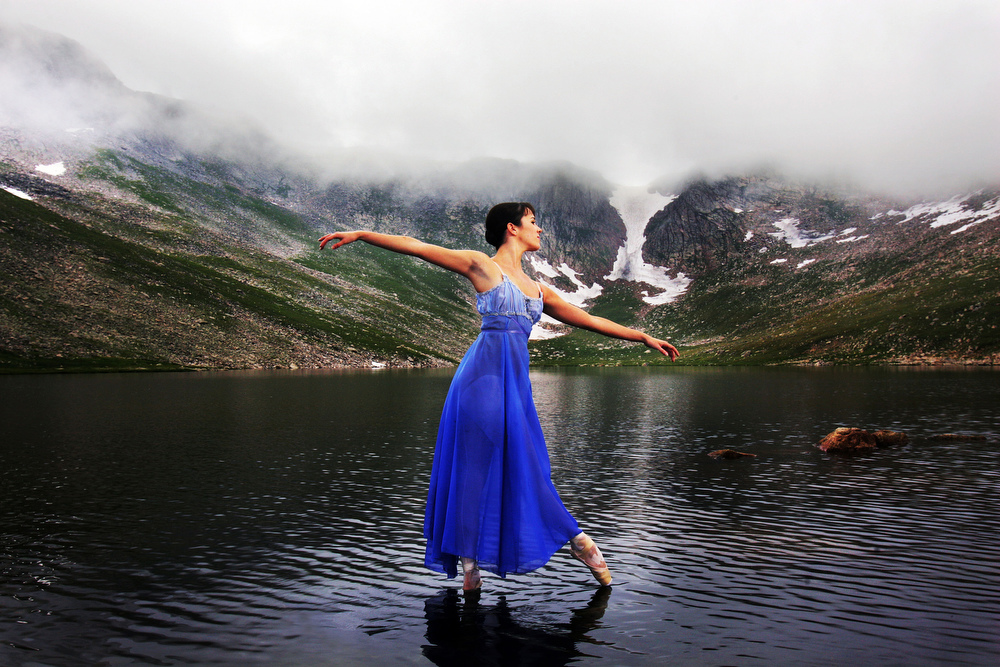 Colorado Ballet dancers portrayed in the rugged scenic beauty of the Colorado Rockies.