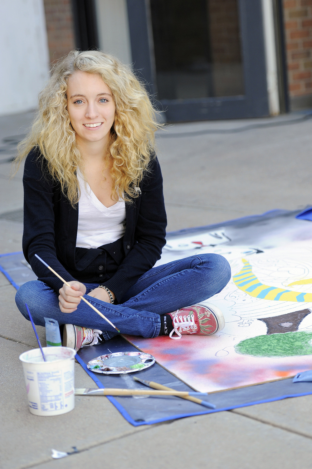 A student in art class at Denver Academy.