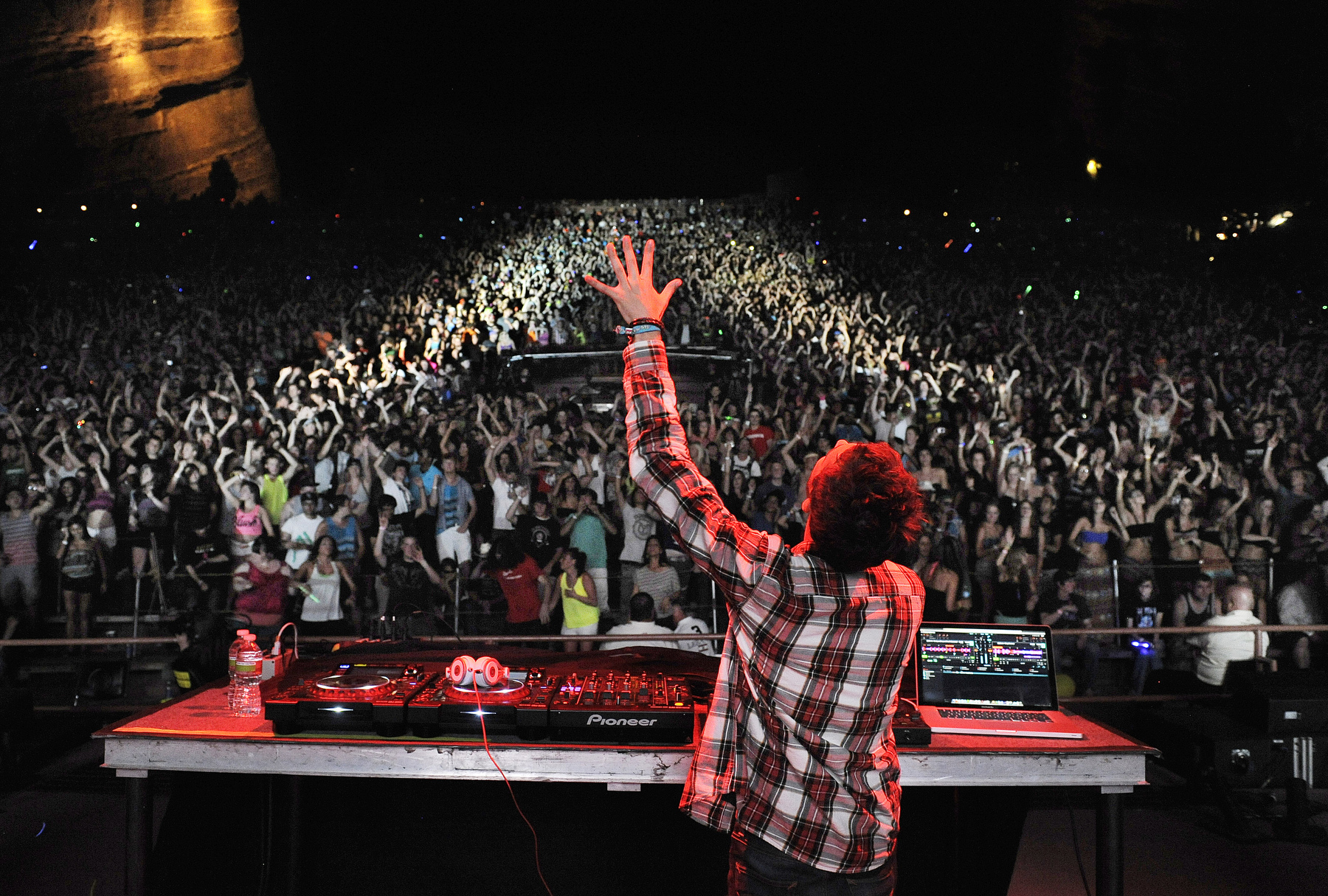Zedd performs for a sold-out crowd at Red Rocks Amphitheater in Morrison, Colorado. Zedd performed with fellow DJ Skrillex and others.