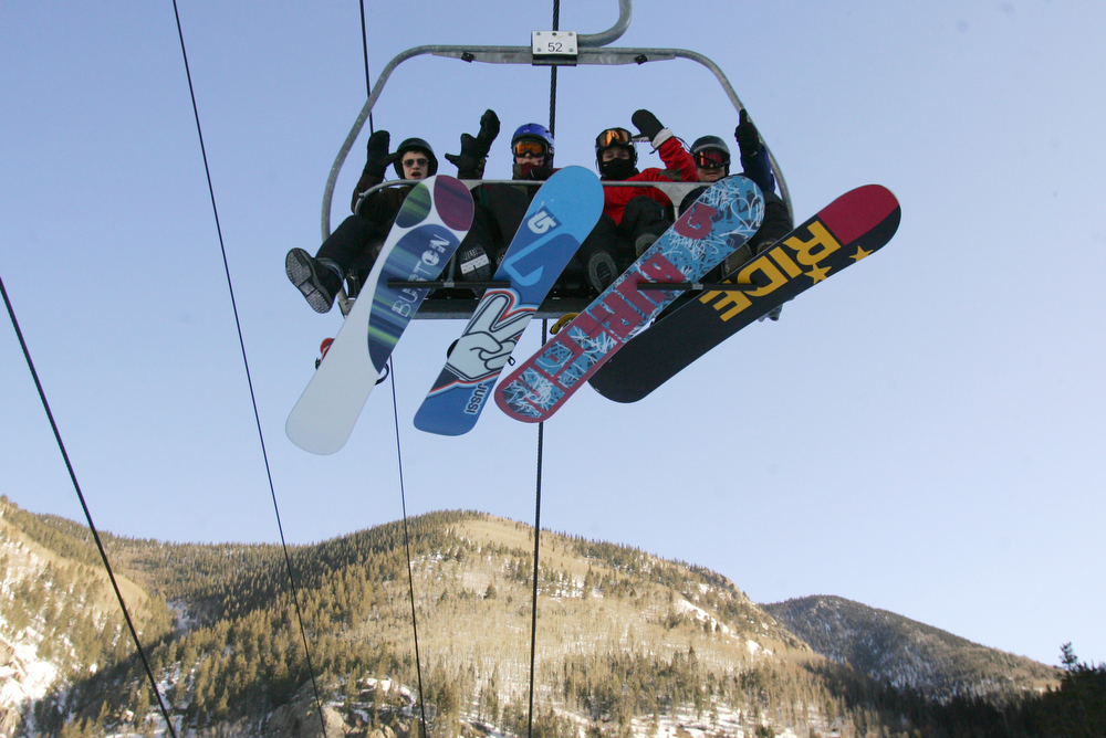 Snowboarders at Taos