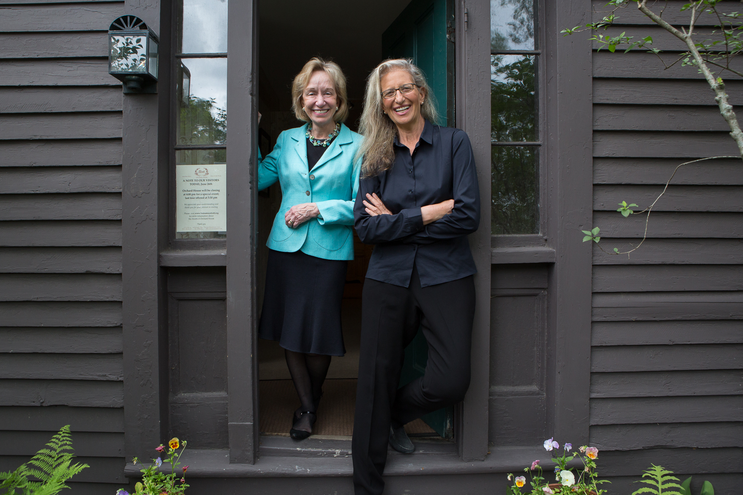 Concord, MA., June 26, 2012: Historian Doris Kearns Goodwin (cq) and photographer Annie Leiboviz (cq) attend the sold-out {quote}A Conversation with Annie Leibovitz and Doris Kearns Goodwin{quote} talk at the Louisa May Alcott's Orchard House in Concord, MA. Doris Kearns Goodwin wrote the introduction for Leibovitz's book Pilgramage which explores many sites in America including Thoreau's cabin on Walden Pond as well as The Orchard House.. Photo by Evan McGlinn for The Boston Globe.