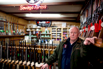 Hooksett, NH: January 5, 2012: Edward Marr at Riley's Gun Shop in Hooksett is one of the popular stops for candidates to visit on their campaign swings through New Hampshire. Photograph by Evan McGlinn for The New York Times.