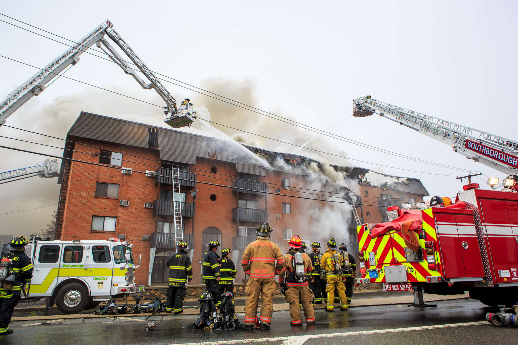 Marlborough, MA., April 23, 2012: A six-alarm fire engulfs an apartment building at 273 West Main St. (Route 20). Photo by Evan McGlinn for the Boston Globe