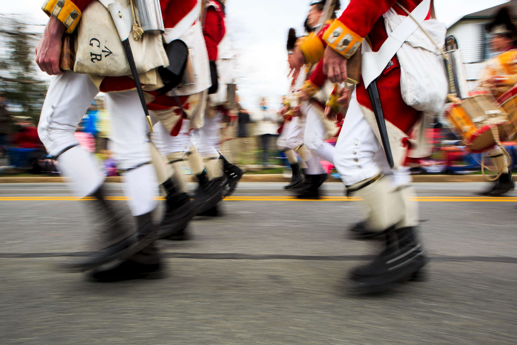 Lexington, MA., April 14, 2013: The town of Lexington celebrates its 300th anniversary with its annual Patriots Day parade. This year also marks the 238th anniversary of the Battle of Lexington on the village green. Photograph by Evan McGlinn for The New York Times
