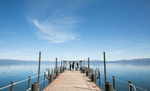 bridesmaids-on-pier-wedding-Tahoe-