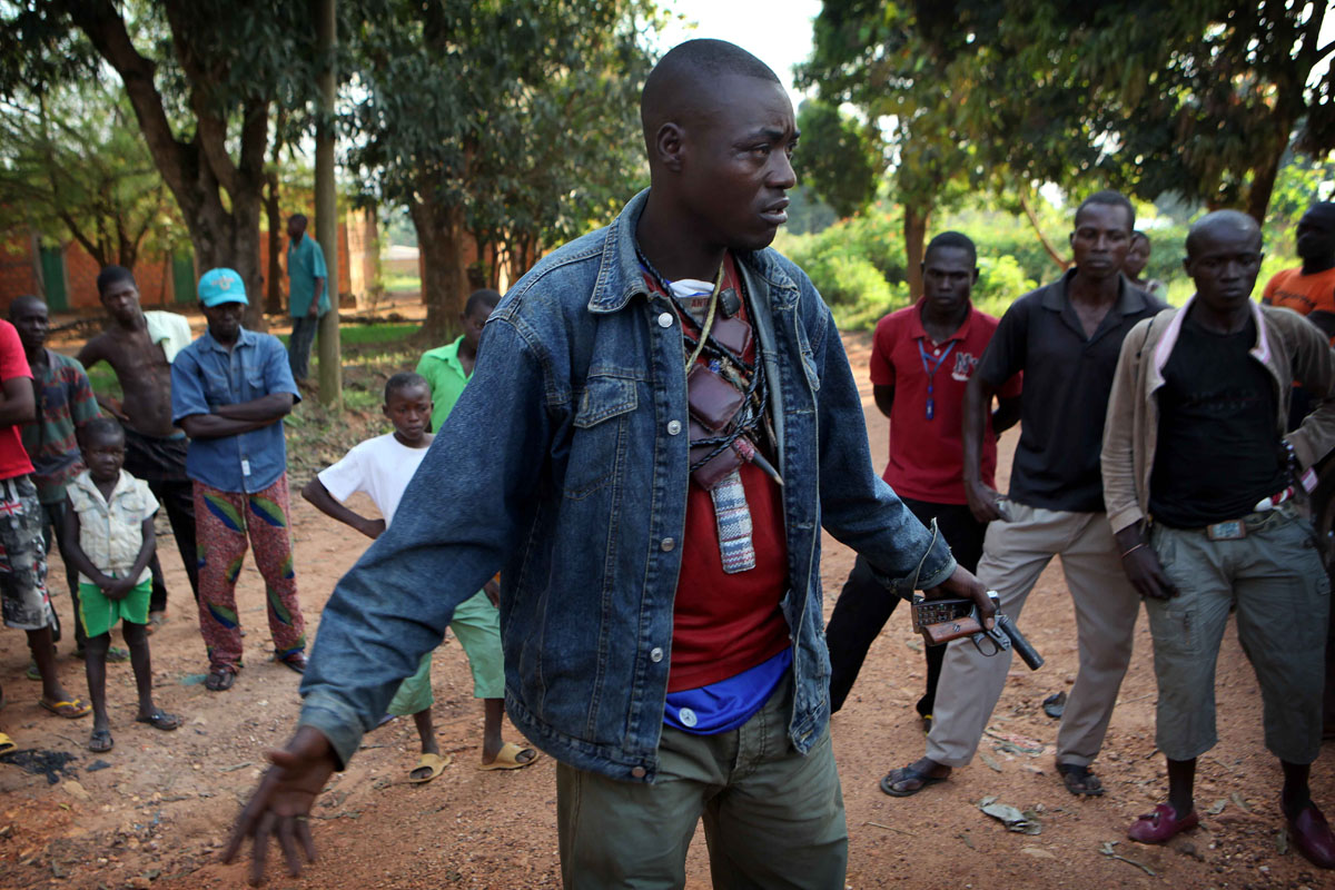 An anti balak spokeperson talks to the press in a secret place outside Bangui.
