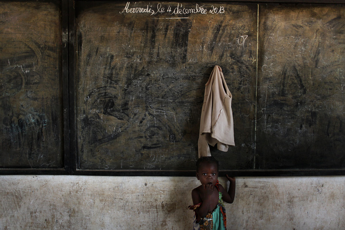 Last a day of school,a shoolboard is stuck on the 4th of Dec.last day before the Anti balaka attack against the Seleka to take the control of the city of Bangui.