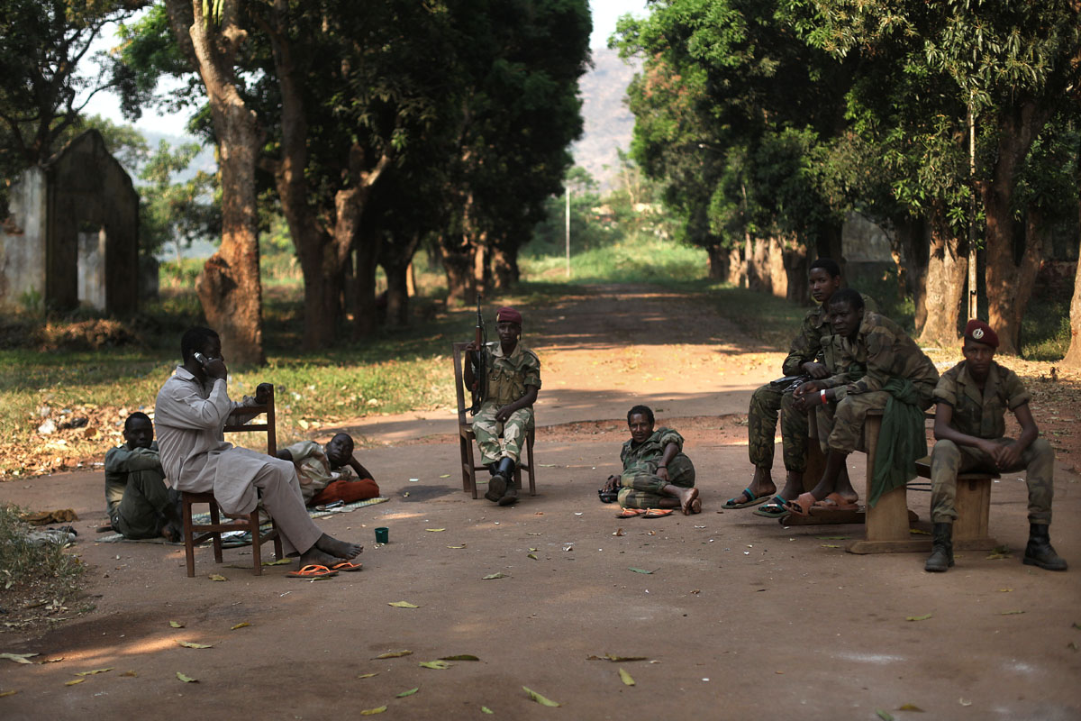 Seleka soldiers at the Kassai camp,Bangui.