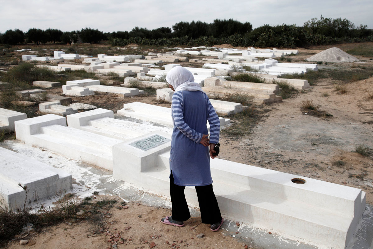 the cemetary,In Sidi Bouzid,hometown of Mohamed Bouazizi.